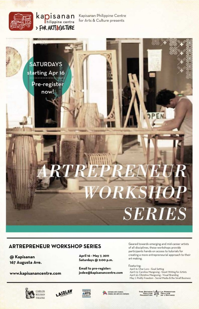 Poster of Artrepreneur workshop, Jodee working out front kapisanan