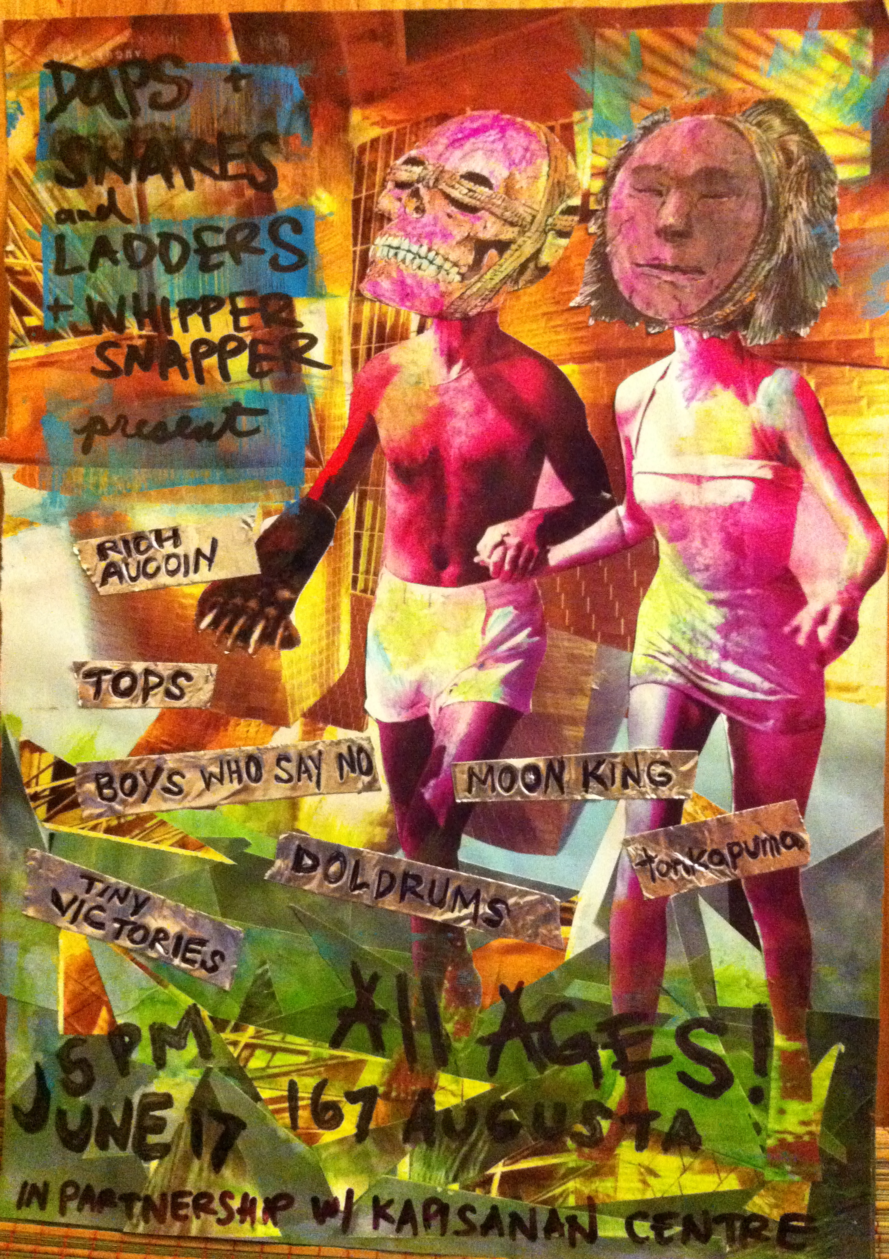 Poster for Daps All Ages show + BBQ, in partnership with Whipper Snapper Gallery, and Snakes and Ladders