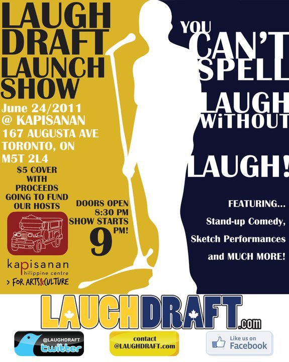 Poster for LaughDraft's Website Launch Show on June 24