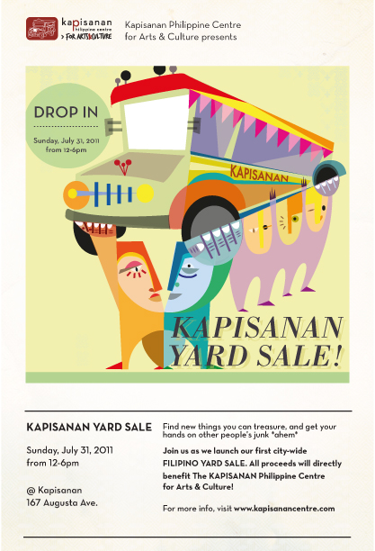 "image of Kapisanan Yard Sale poster. imagery of ""filipinos"" holding a jeepney"