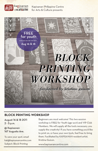 Web flyer for Block Printing Workshop, facilitated by Kristina Guison