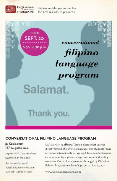 Filipino Language Program, Tagalog classes.
