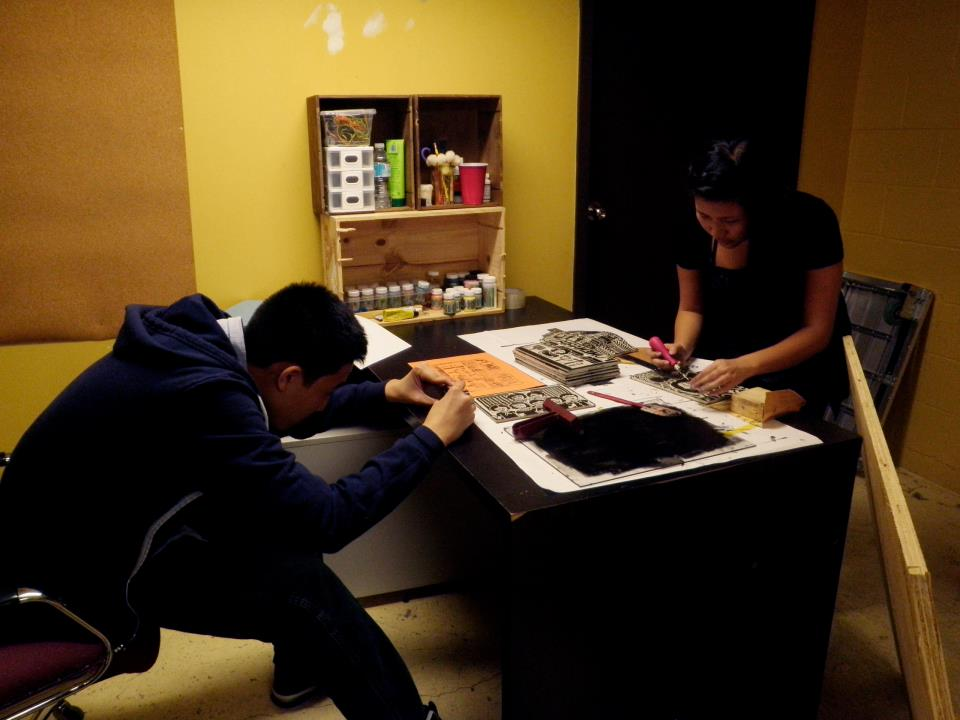 Clutch Vol 4 Diane working on blockprints with Toto