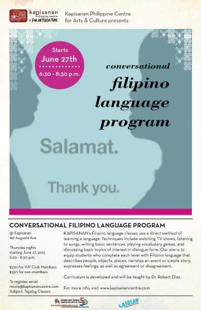 Flyer for Tagalog Classes at Kapisanan Summer 2013
