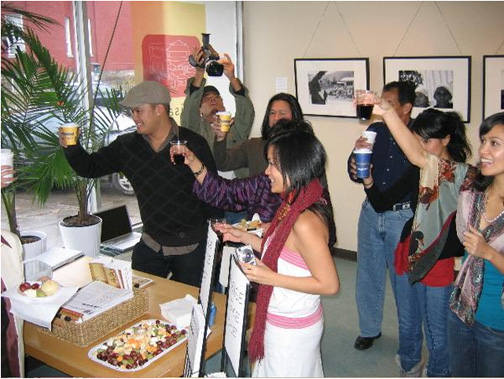 A toast! The launch of our Kensington Market space, 2005. Here's to 10 more years... at least!