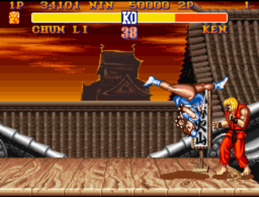 Chun Li takes to the air (upside down, no less) to kick the crap out of a staggered Ken. Each character's special moves could be used as part of a rich tapestry of beat-down magic.
