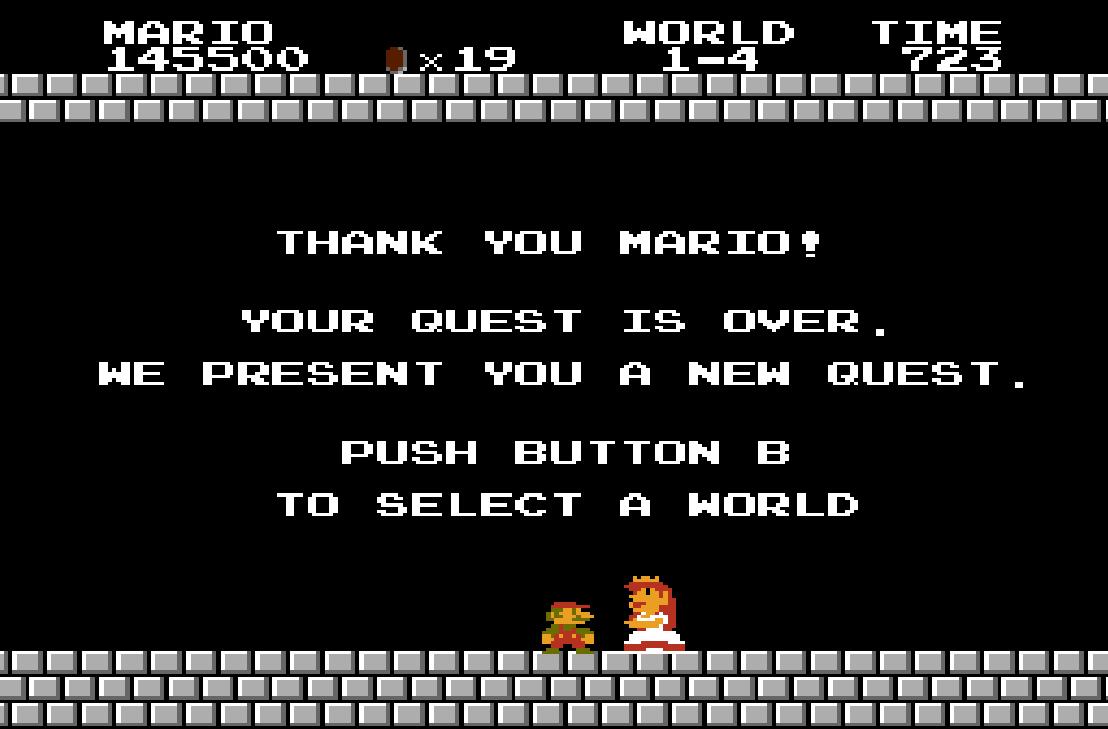 end - Super Mario Bros. (NES/Famicom, 1985)