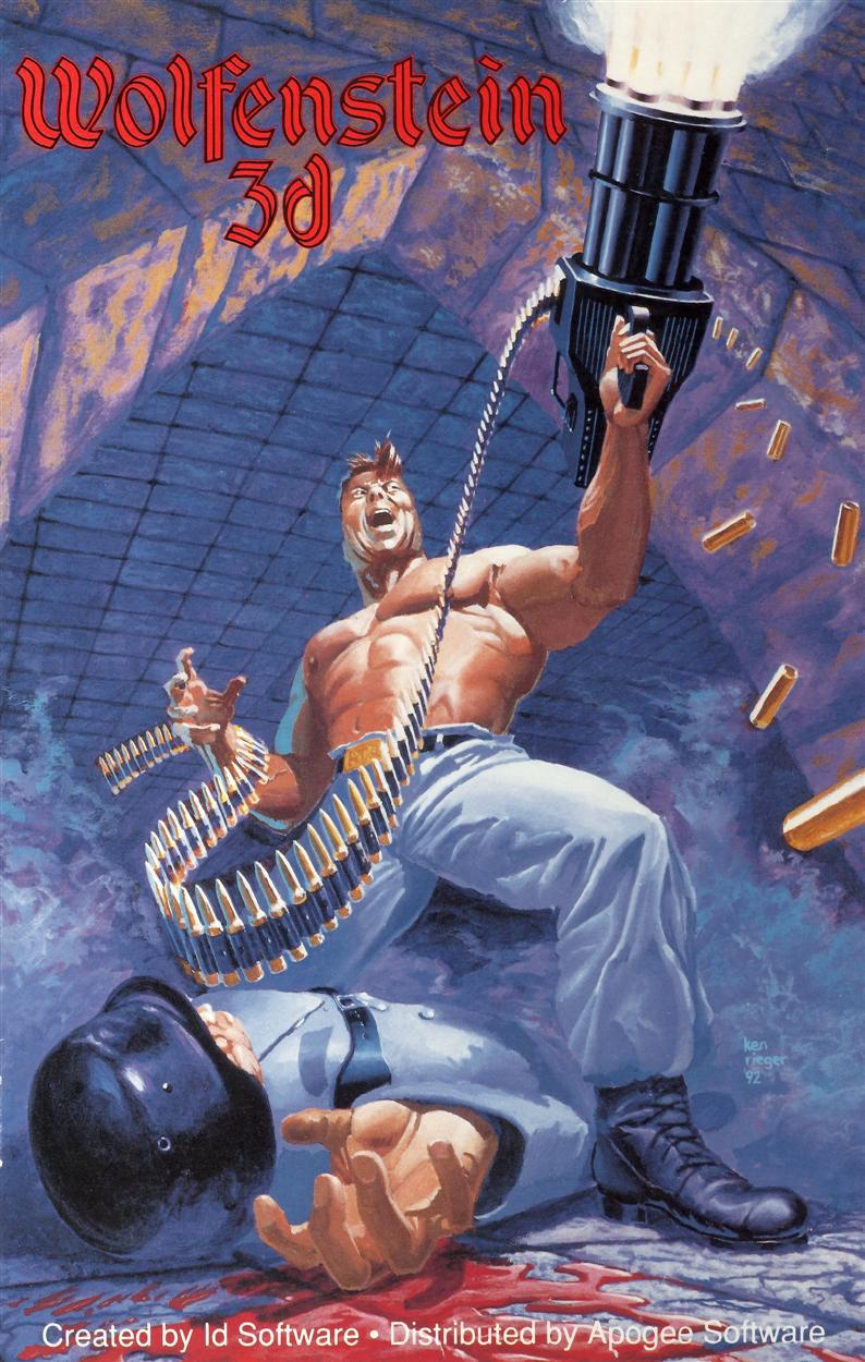 Easily one of the baddest-ass pieces of cover art from the shareware era. Ripped and howling, B.J. exults in the bloody demise of yet another Gestapo goon. He fires his unthinkably massive chaingun in a physics-defying display of all-American fury.