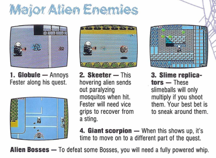 The manual's brief overview of the enemies in the game.
