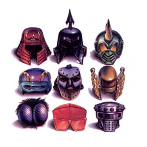 The helmets. The lower middle one is actually kind of in vogue right now. I think I saw someone wearing that on a vaporwave album cover recently.