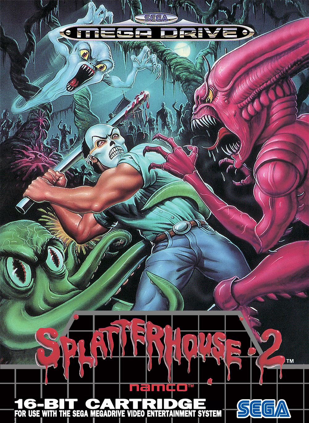 European box art for 2. Much more cartoony than the first one's promo art, but still suitably gruesome and chilling.