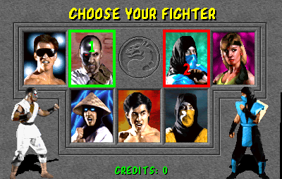 From left to right down the line: Johhny Cage, Kano, Raiden (spelled Rayden in the home console versions), Liu Kang, Scorpion, Sub-Zero, and Sonya. I know this selection looks small, but trust me, the sequels add plenty more to choose from.