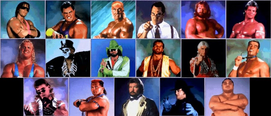 The complete roster for both versions. Top row, left to right: Bret Hart, Crush, Hulk Hogan, IRS, Jim Duggan, Lex Luger (Narcissist). Second row: Mr. Perfect, Papa Shango, Randy Savage, Razor Ramon, Ric Flair (WOOOOOO), Rick Martel (The Model). Bottom: Shawn Michaels, Tatanka, Ted DiBiase, Undertaker, Yokozuna.