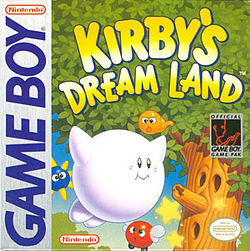The original American box art has Kirby colored white, because of the aforementioned uncertainty about what color he should be. Nintendo of America figured that since the Game Boy was in monochrome, it couldn't do too much damage to just put him on the box this way. When I first saw this as a kid, I straight up though this was a game about a silly ghost who ate stuff. By then I was used to video game absurdity and wasn't confused.