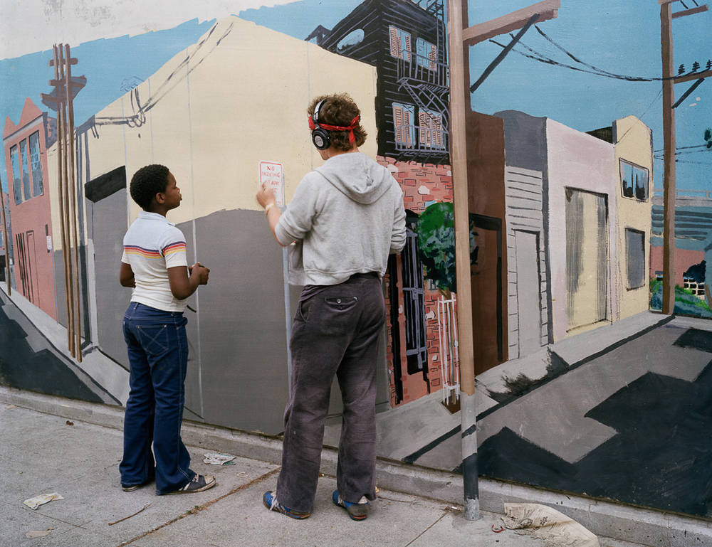 Photo By Janet Delaney- Painting Mural, Langton Street, 1980