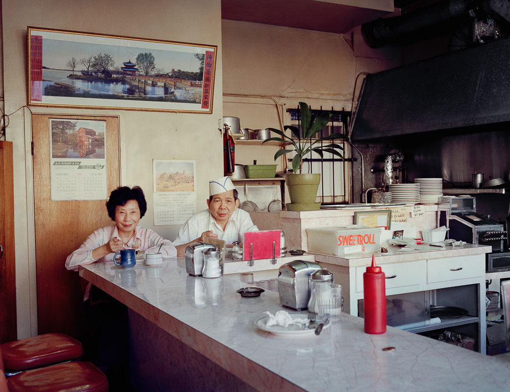 Photo By Janet Delaney- Helen and her husband, Chester, at the Helen Cafe, 486 6th Street, 1980