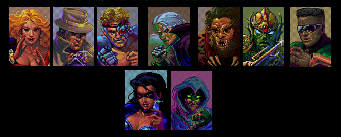 Top Row: Jetta, the Russian acrobat; Larcen, the kung fu Chicago gangster; RAX the cyborg muay-thai champ; Midknight, the vampire who mastered JKD during the Vietnam Era; Slash, a caveman who practiced a style known only as Pain; Trident, the Atlantean who coupled his hand-fork with Capoeria; Blade, the Kenpo-using bounty hunter from the future. Bottom: Shadow, the ninja assassin from the 1990s; Xavier, the 17th Century warlock who also got around enough to learn some hapkido. Quite a roster. A lot of diversity.