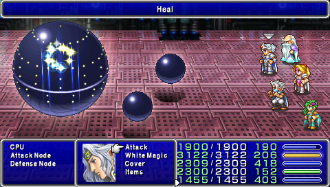 One of the more interesting battles, the CPU inside the mechanical Giant of Babil. You must destroy them in a certain sequence... (PSP version)