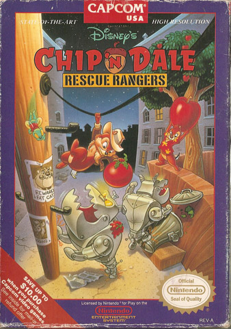 nes chip and dale front - Chip n Dale: Rescue Rangers (Capcom, 1990)