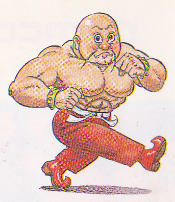 Pictured: Jinborov Karnovski, strongman/firebreather/adventurer/pimp, literally stomping his way directly to glory. Those gold bracelets ain't gonna finance themselves.