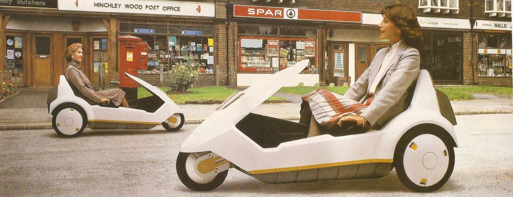 The Sinclair C5. Envisioned as a revolution in personal transport, it met with marginal initial success before... well to keep a long story short, it didn't revolutionize shit. It looks cool as hell, though.