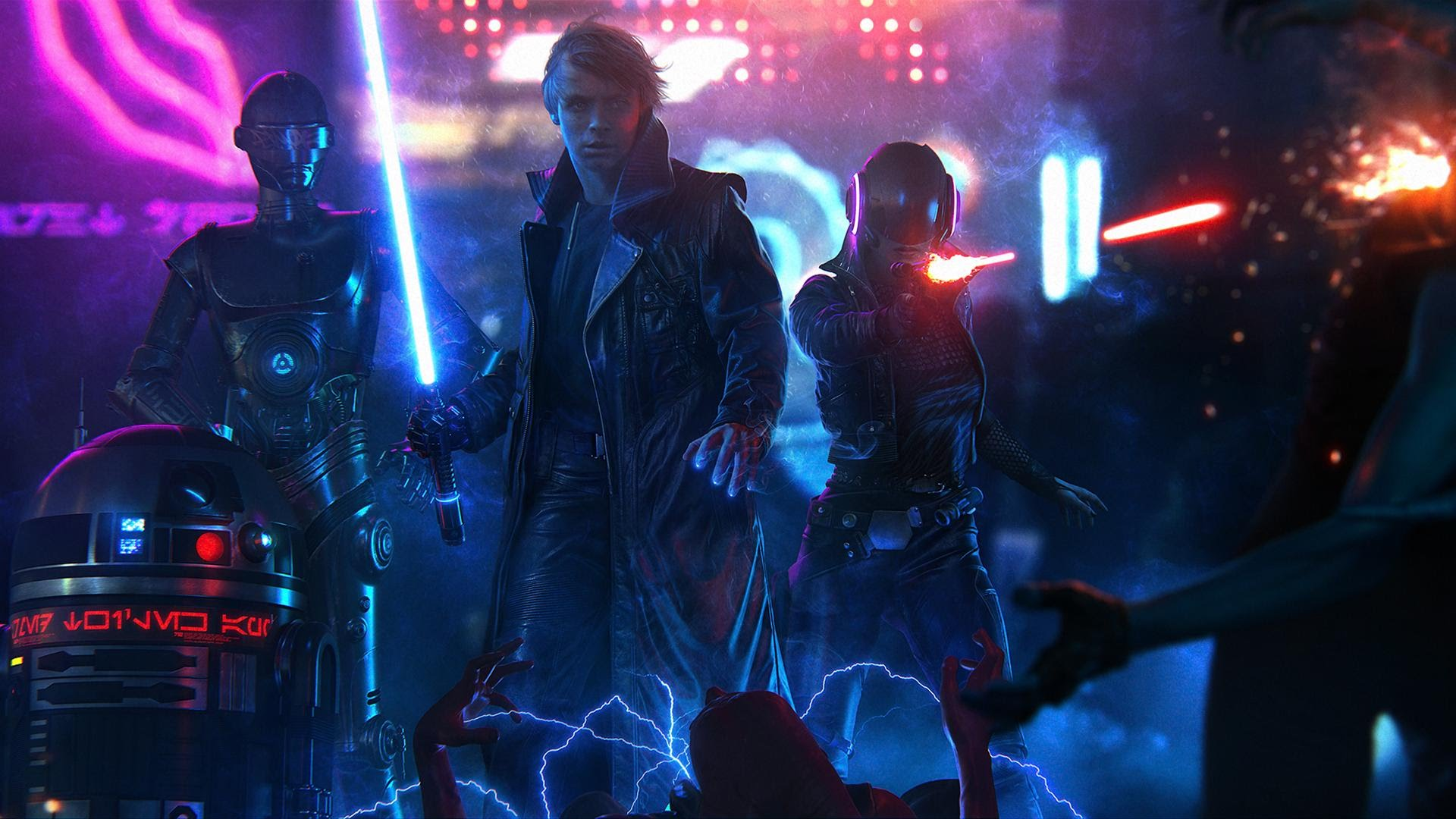 A+Dark+Jedi+and+a+Renegade+Princess+ +Art+by+Jeronimo+Gomez - Cyberpunk Star Wars - A Dark Jedi and a Renegade Princess