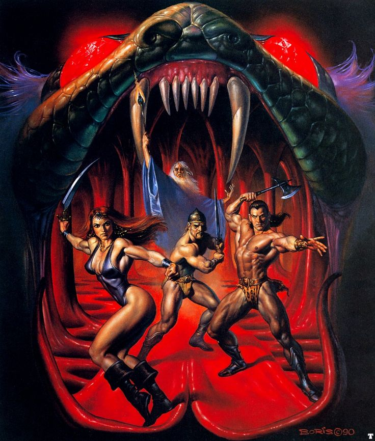 """I mean, how the fuck does this not scream """"awesome?"""" (This is the box art by the way, by Boris Vallejo, one of the inheritors of Frazetta's legacy.)"""