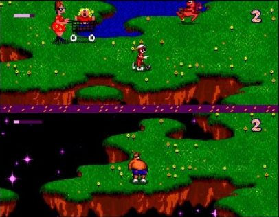 ToeJam hard at work, while Earl... well, Earl just kind of stands there. Good job, Earl.
