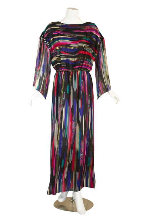 Hanae Mori 1980 Colorful Metallic Silk Chiffon Caftan Dress with Tags 1 copy l - FLUFFY GARMENTS OF THE 80's