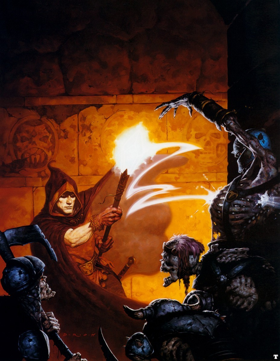 Here's the absolutely sick-nasty box art by Gerald Brom again... Corvus's eyes are mad with rage as he hurls ruin into some trick-ass skeletons in the dark. Everything Gerald Brom draws looks like it's channeled right out of Robert E. Howard's id. I love it.