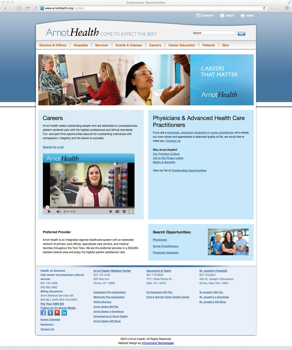 Arnot Health Careers Website