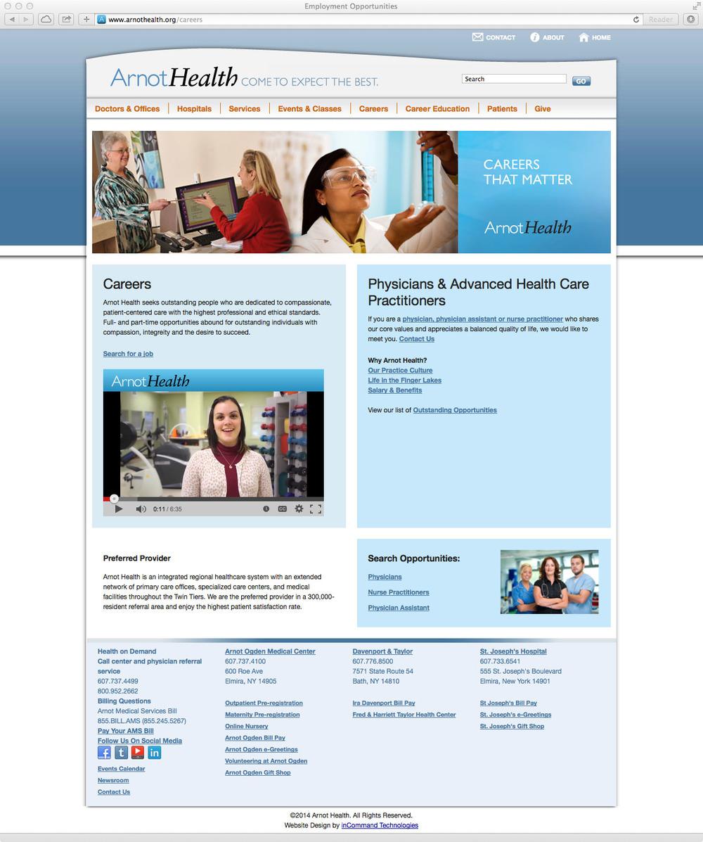 Arnot Health Careers Website