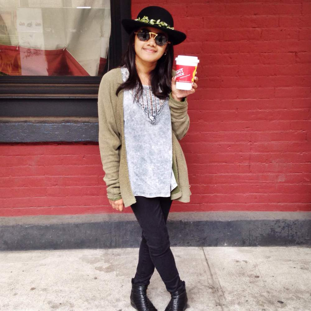 TJ Maxx Acid Tank/Olive Cardigan/Black Bullhead Jeans/ Black & Gold Ankle Boots/ Asos Felt Hat with Flower Detail/Vintage Ray Bans