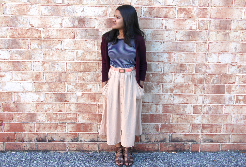 Burgundy cardigan/Blue and White Striped Fitted Tee/Beige Midi Skirt/Brown Gladiator Heels/Pink Aztec Belt/Fossil Watch
