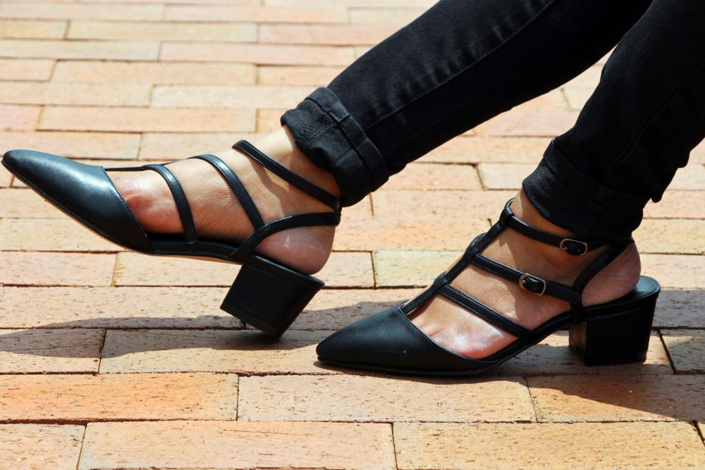 Asos Black Strappy Mid Heels