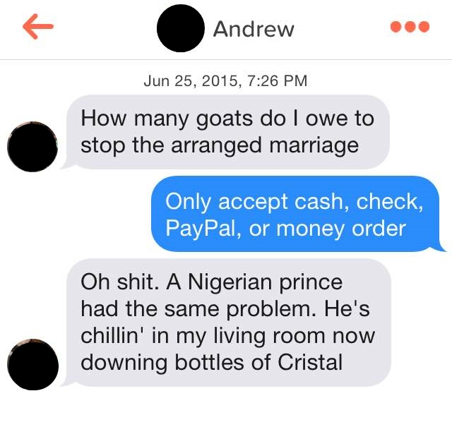 Modern Romance Tinder Message - Arranged Marriage