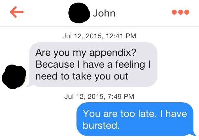 Modern Romance Tinder Message - Appendix Line