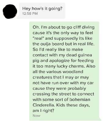 Modern Romance - Tinder Message - Weirdness