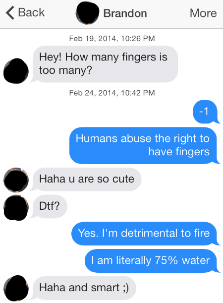 Modern Romance Tinder Message - Detrimental to Fire