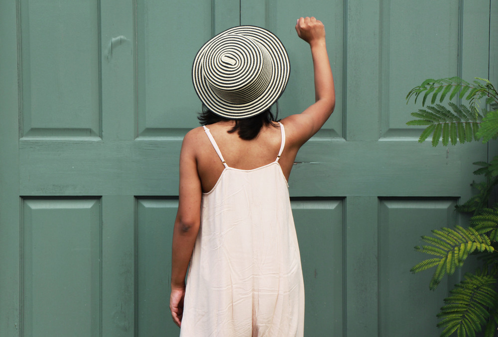 Black and White Straw Hat with Midi Jumpsuit