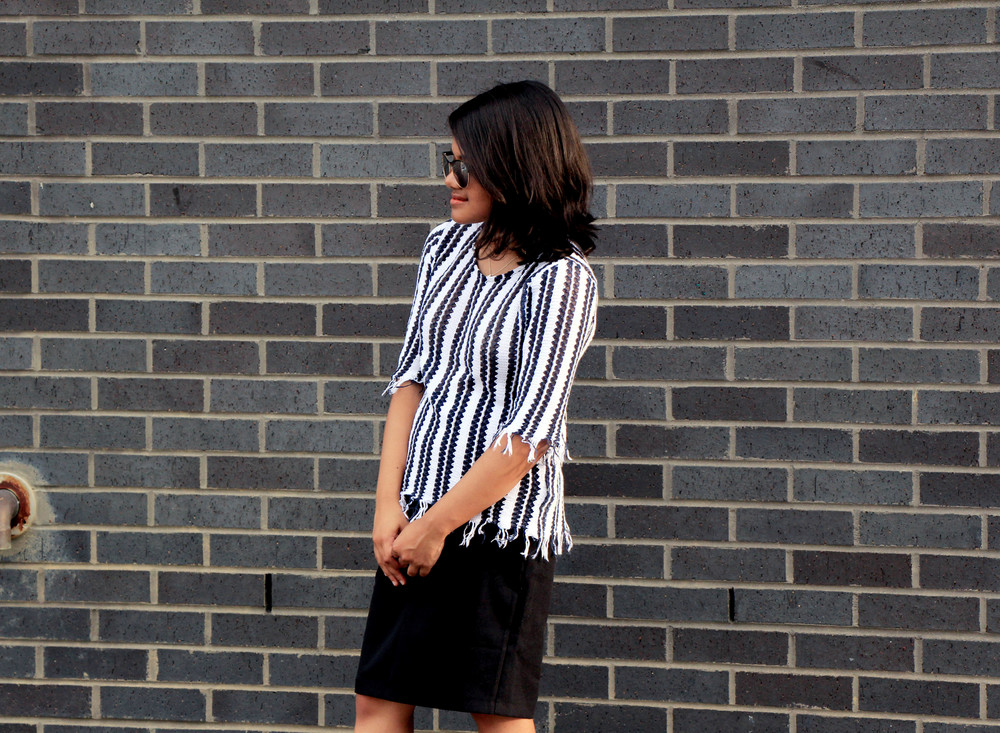 top shop fringe top and pencil skirt