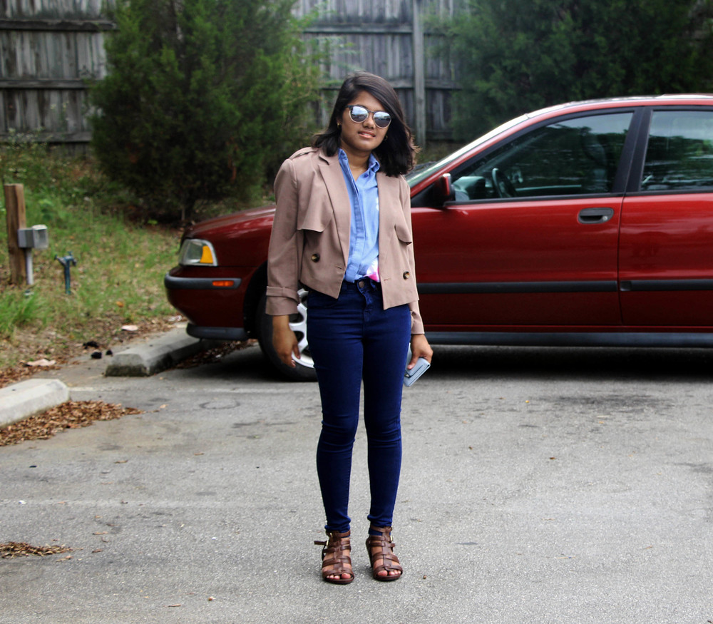 F21 Cropped trench coat and new look petite blue jeans