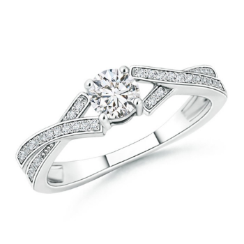 Solitaire Round Diamond Ribbon Shank Ring
