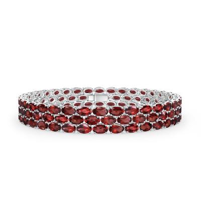 Three Row Oval Garnet Tennis Bracelet