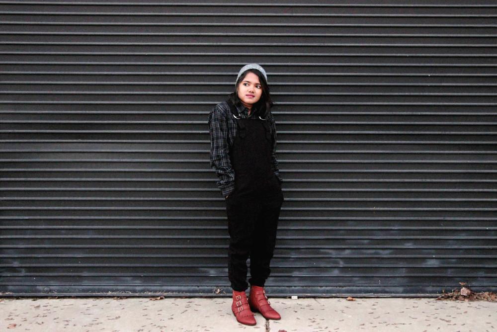 jac vanek black flannel-overalls