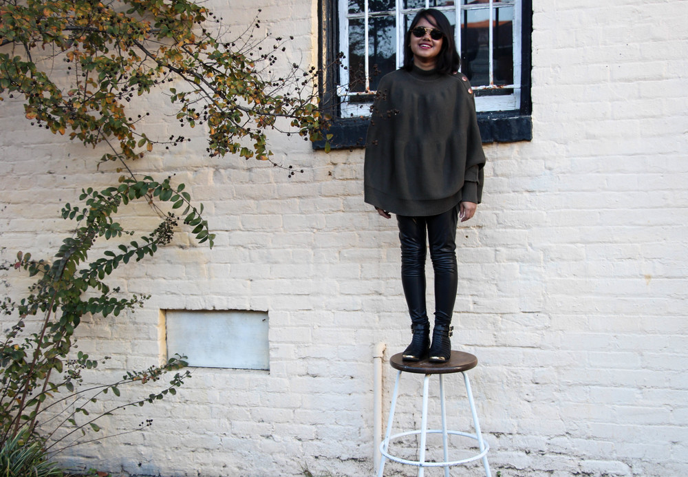 Olive Cape Sweater and Leather Leggings