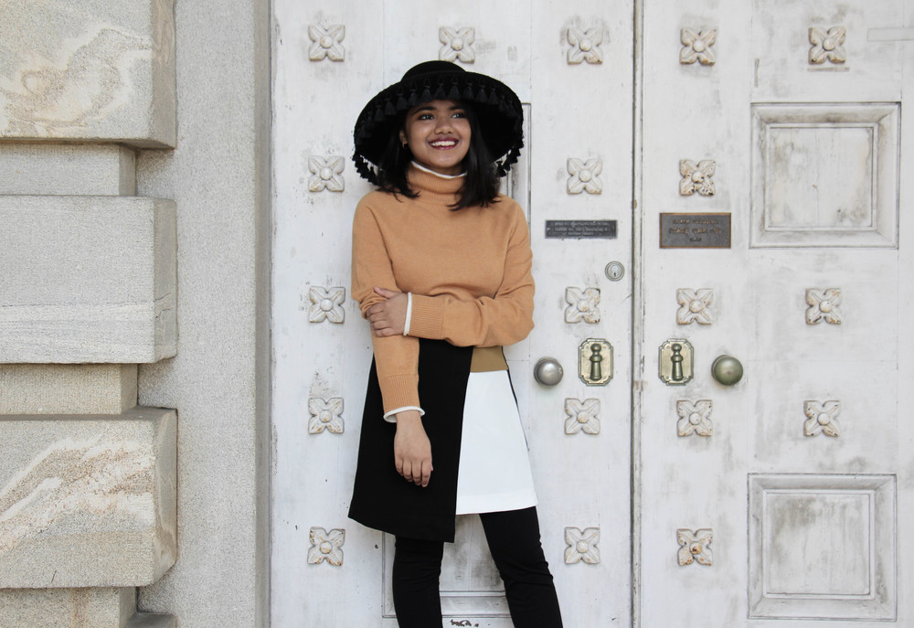 Asos Camel Sweater and Brixton Tassel Hat