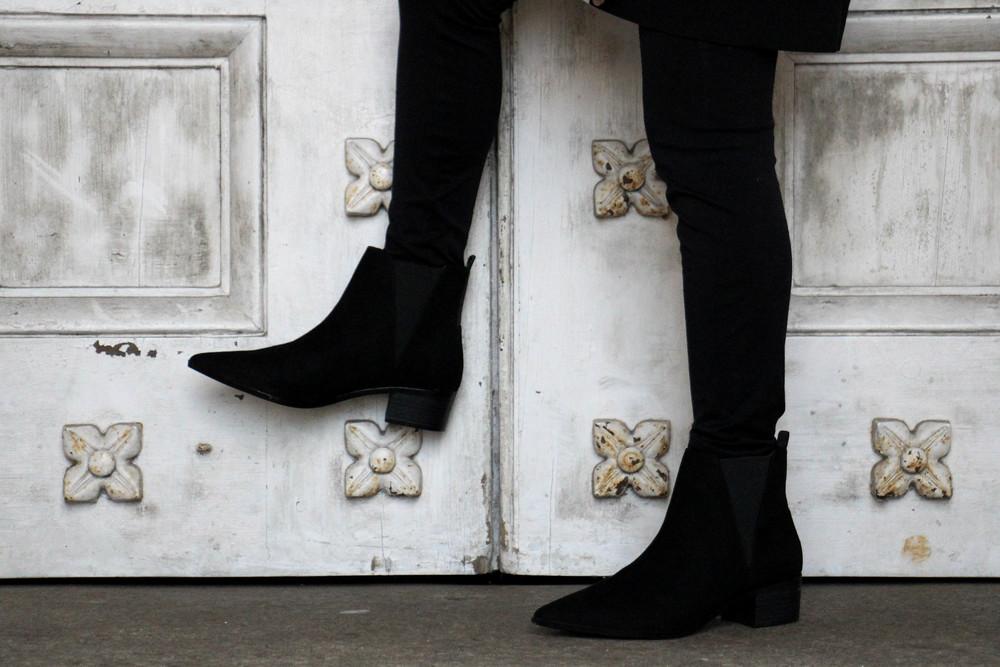 Mango Black Suede Chelsea Boots