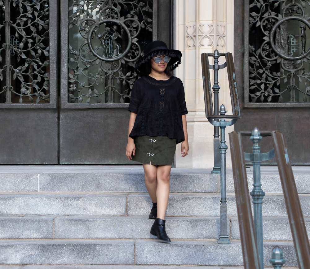 Amuse Society Crochet Black Top and Nasty Gal Utility Skirt