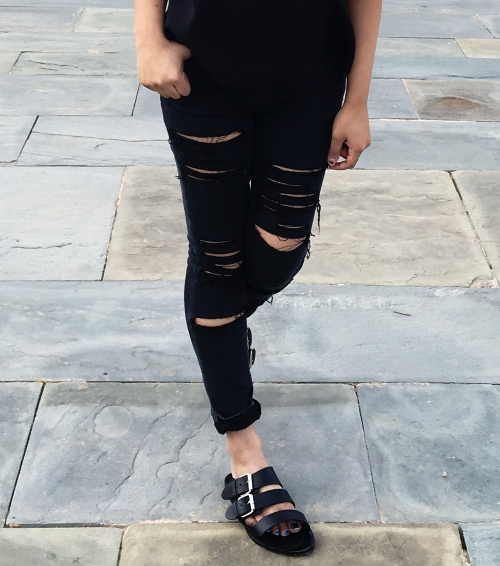 Petite Ripped Ankle Grazer Skinny Jeans